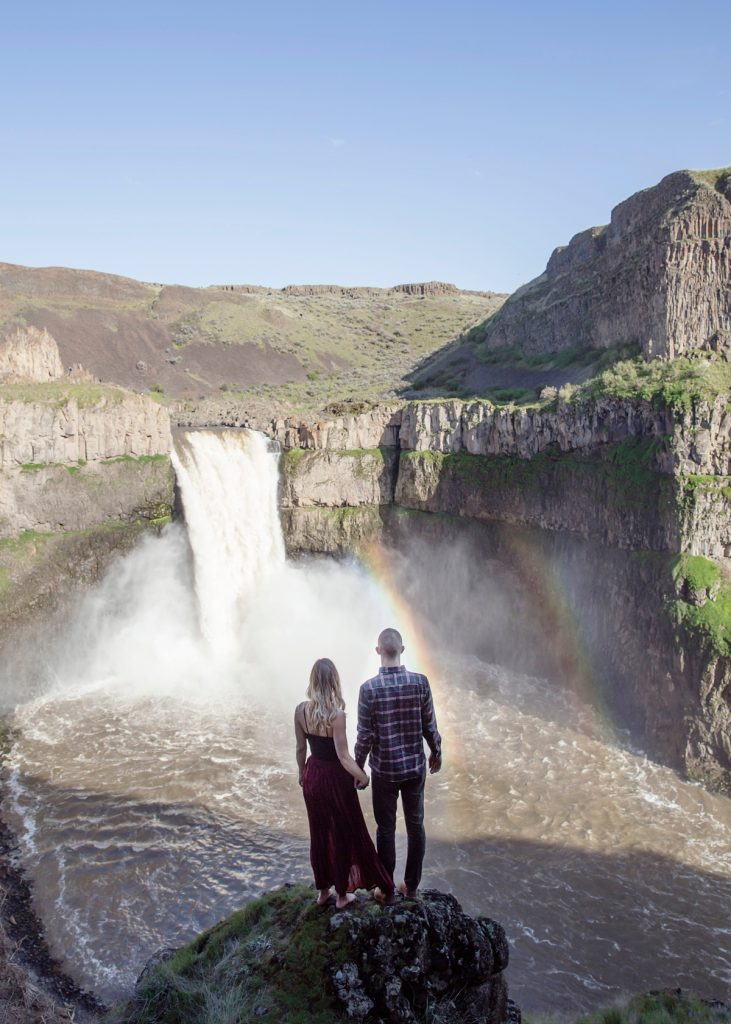 Couple at Palouse Falls waterfall