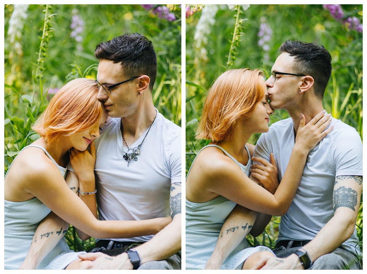 couple in lupin flower field
