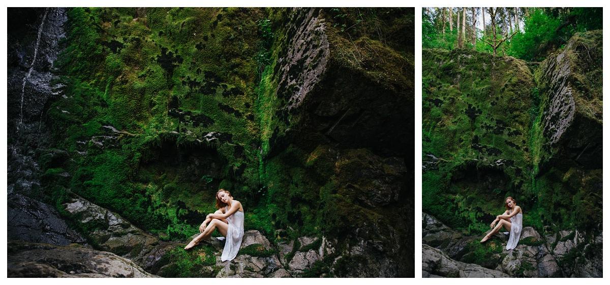 girl sitting on mossy ledge