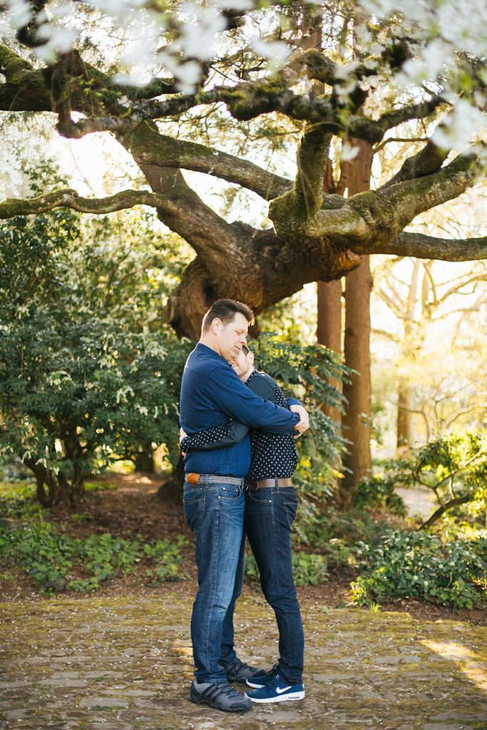 Golden Gardens Engagement session, couple at nearby park underneath cherry blossoms