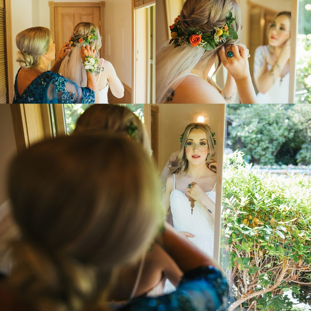 beau lodge wedding bride getting ready in mirror