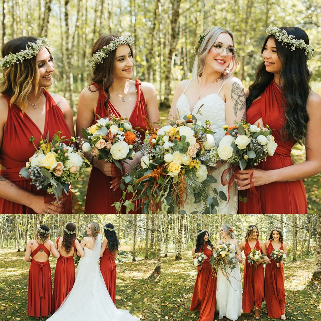 beau lodge wedding bride with bridesmaids