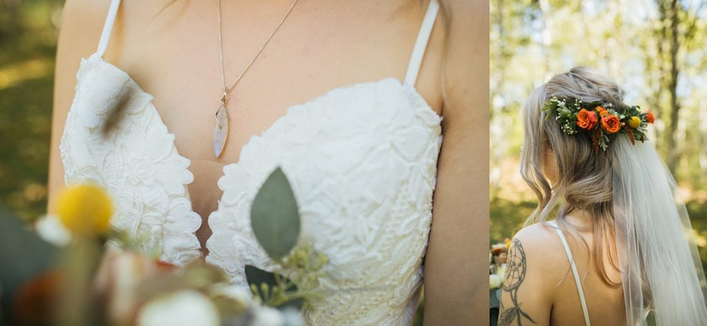 beau lodge wedding bride details, moonstone necklace detail and flower hair piece detail