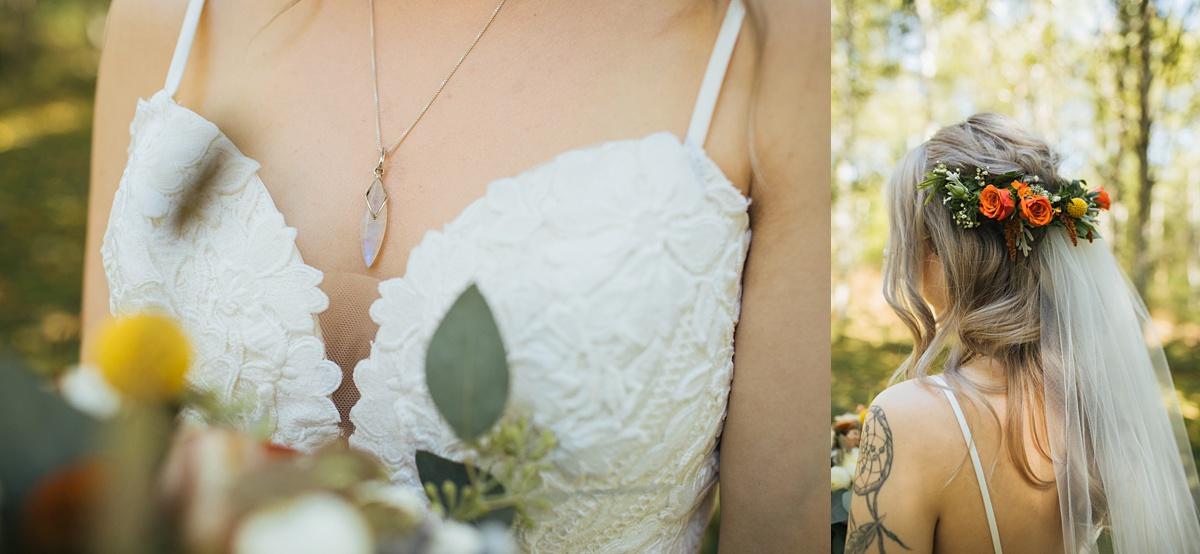 beau lodge wedding bride details, moonstone necklace detail and flower hair piece detail