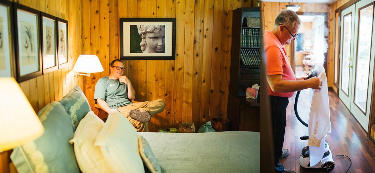 beau lodge wedding groom getting ready, dad ironing shirt