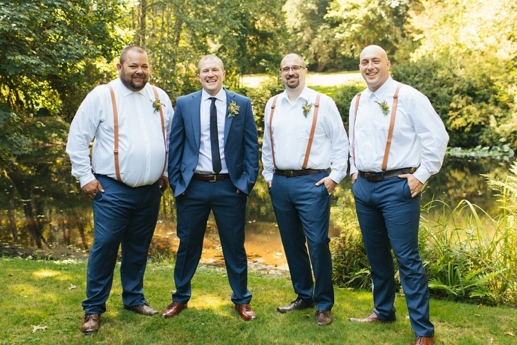 beau lodge wedding groom with groomsmen