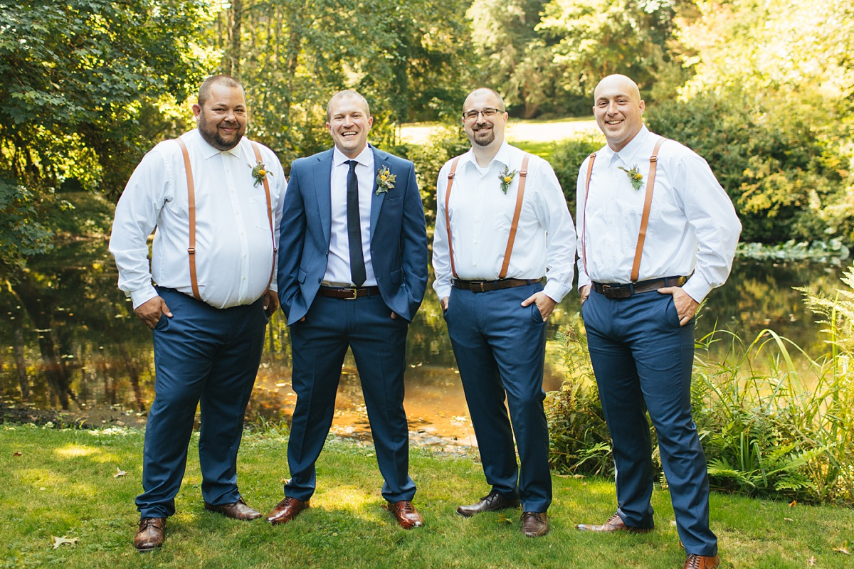 beau lodge wedding groom with groomsmen