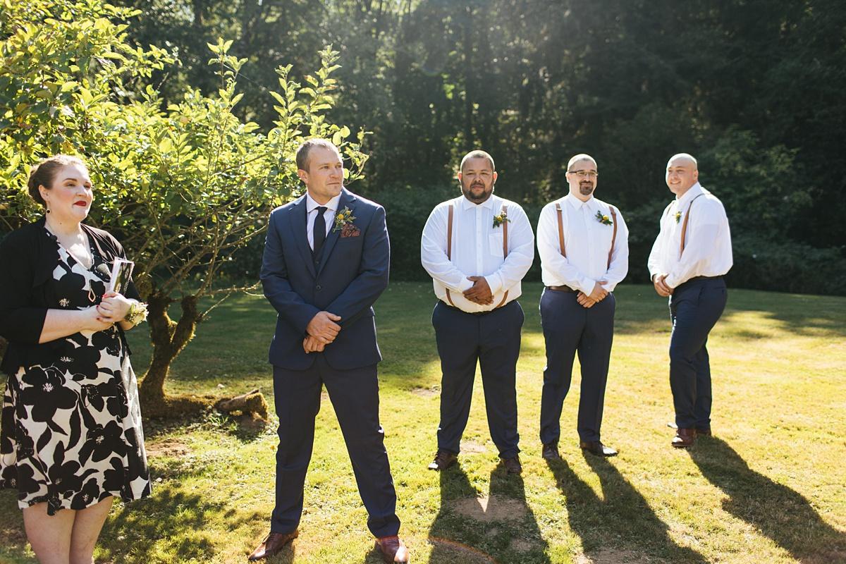 beau lodge wedding groom waiting for bride