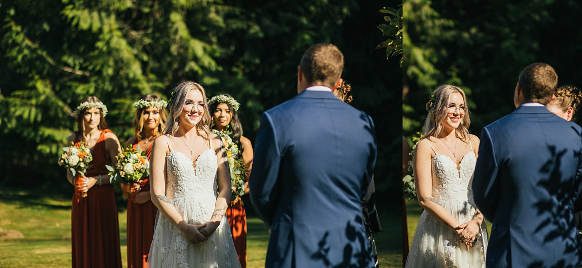 beau lodge wedding bride smiling and groom during wedding ceremony
