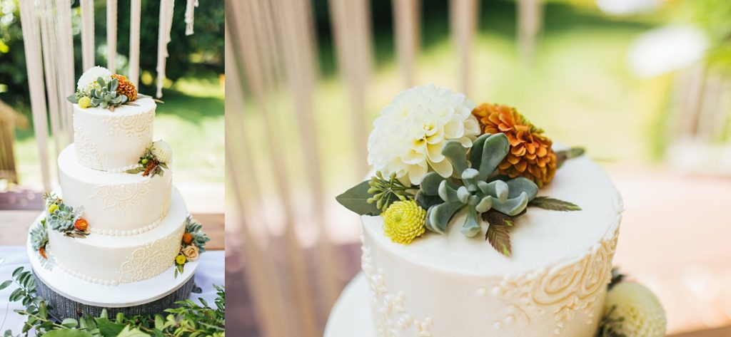 beau lodge wedding cake details, brides cake with flowers and succulents and henna design out of piped frosting made by sweet bellingham