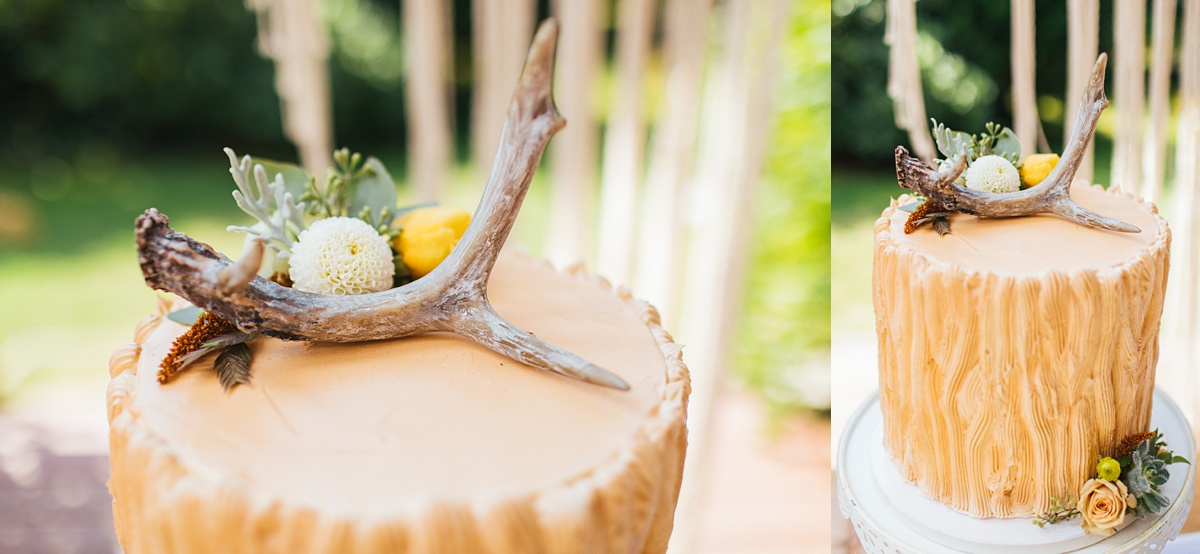 beau lodge wedding close up of cake details, grooms cake with deer antler on top made by Sweet Bellingham