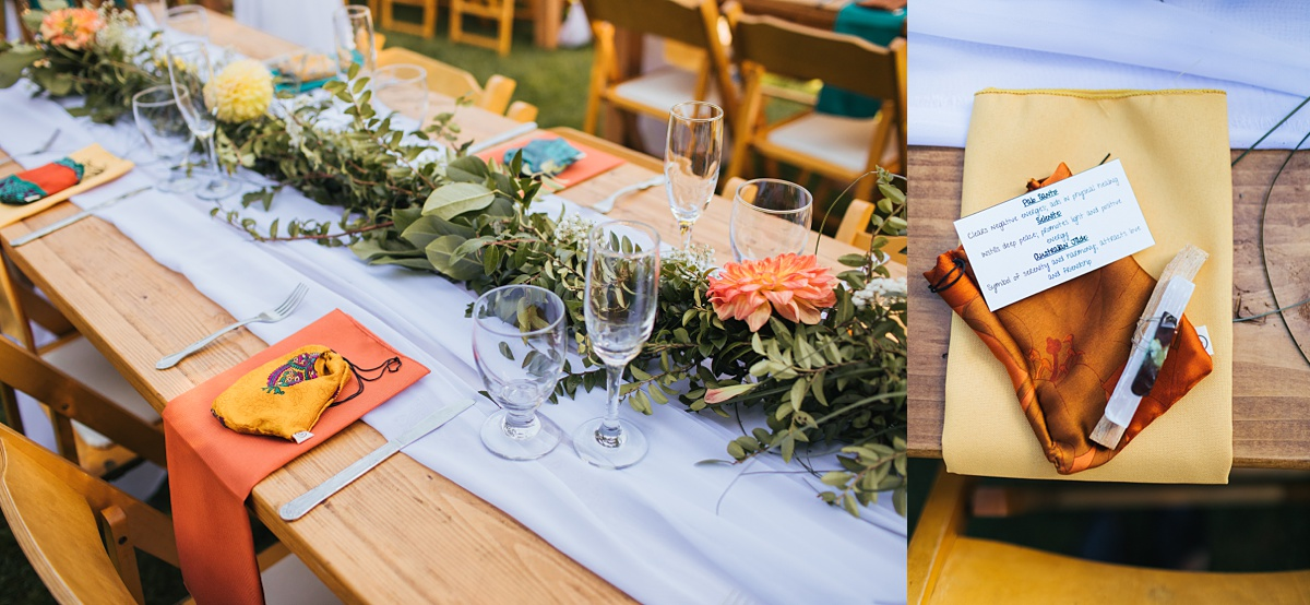 beau lodge wedding party favor detail of palo santo, selenite crystal, and jade crystal