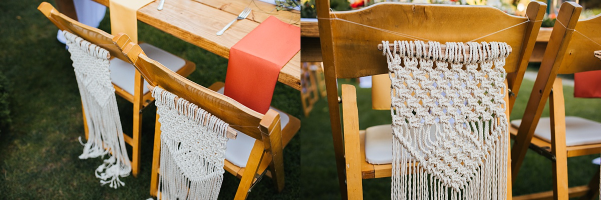 beau lodge wedding macrame hanging detail for bride and grooms chairs