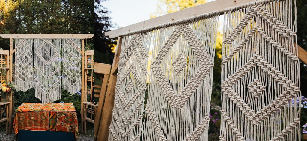 beau lodge wedding macrame hanging details for handmade photobooth station