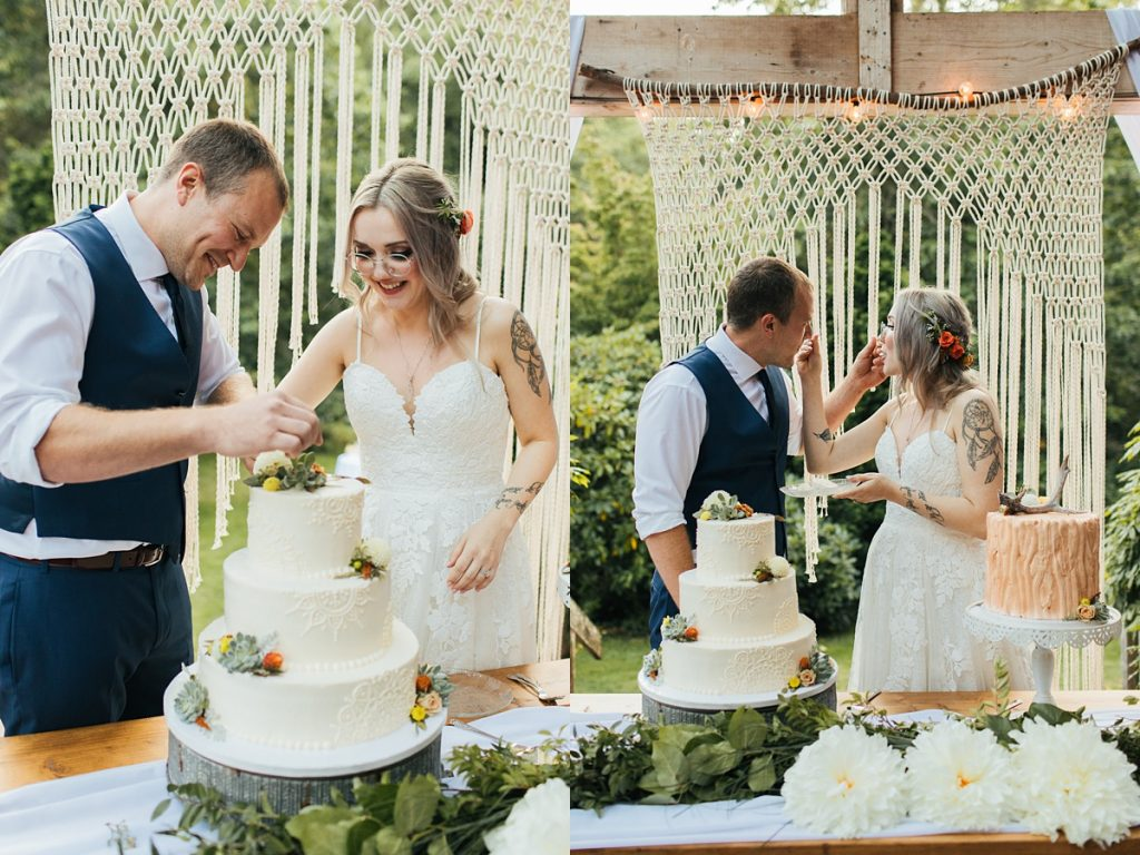 beau lodge wedding bride and groom cutting cakes