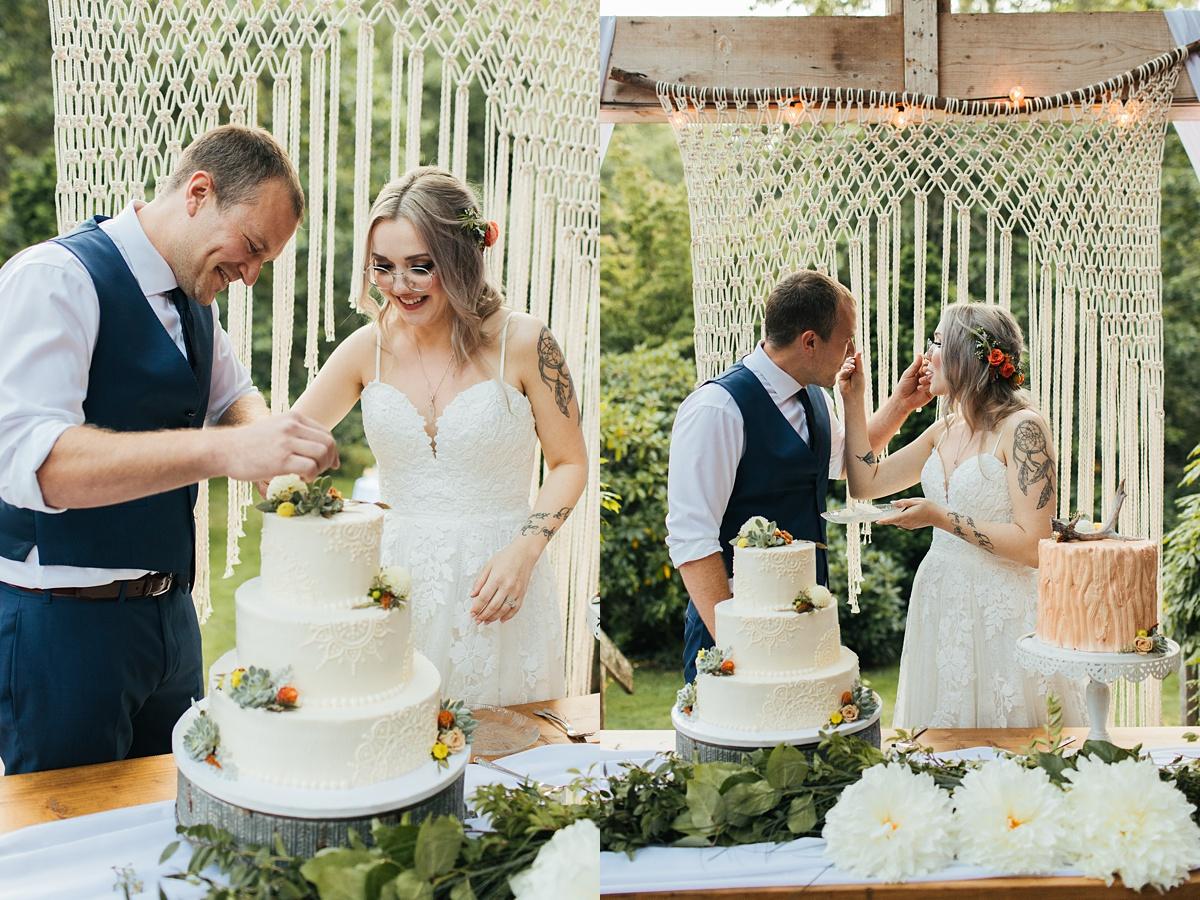 beau lodge wedding bride and groom cutting cakes