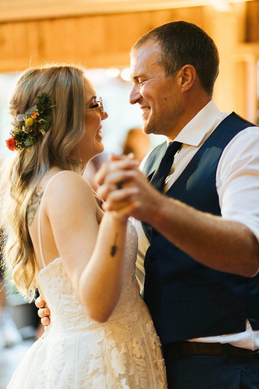 beau lodge wedding first dance between bride and groom