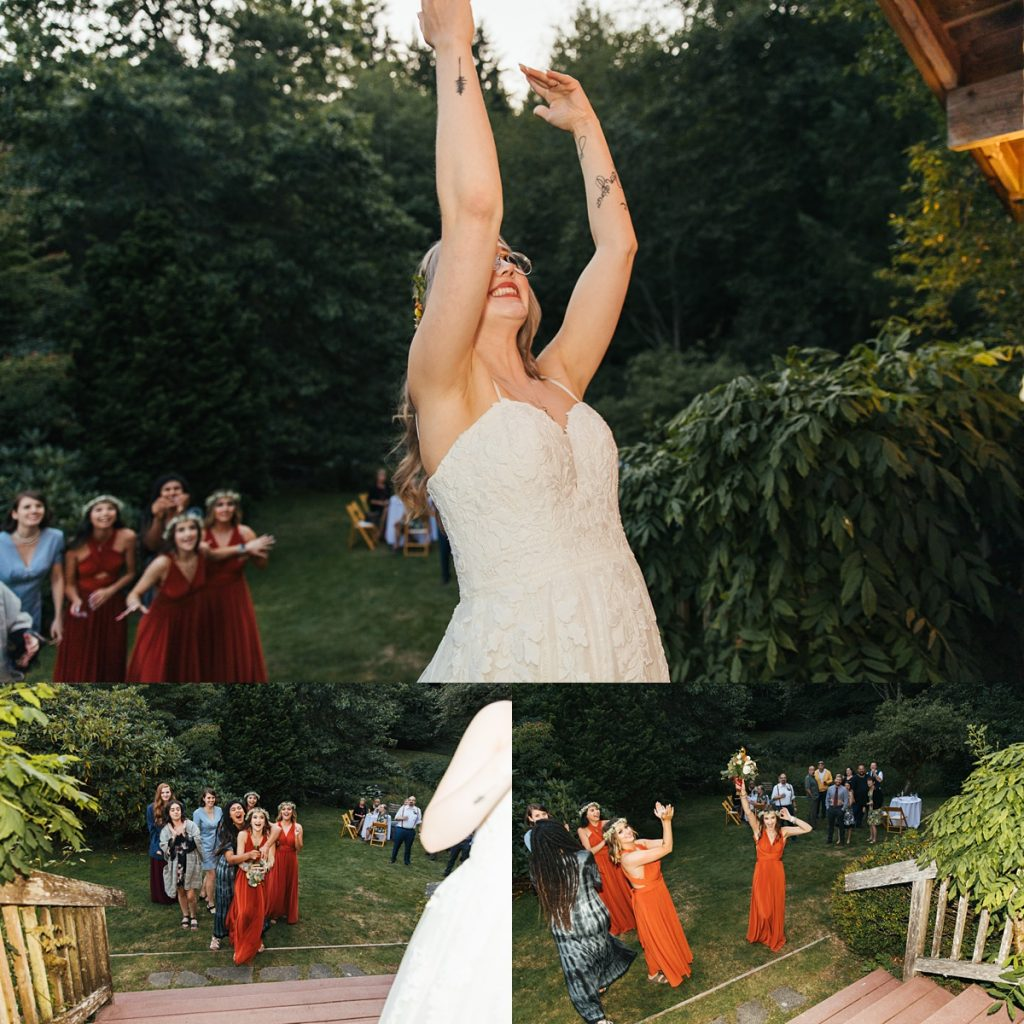 beau lodge wedding bride throwing bouquet which is caught by excited bridesmaid