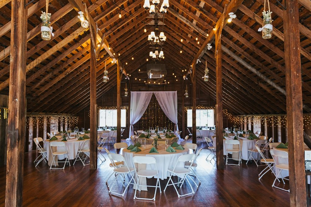 Bostic Lake Ranch Wedding upstairs dining area decor