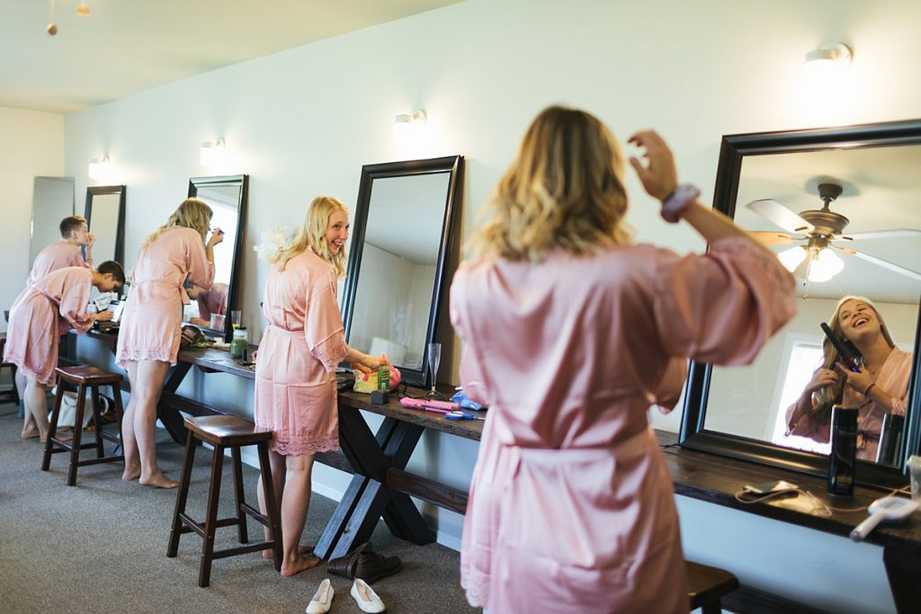 Bostic Lake Ranch Wedding bride getting ready with bridesmaids