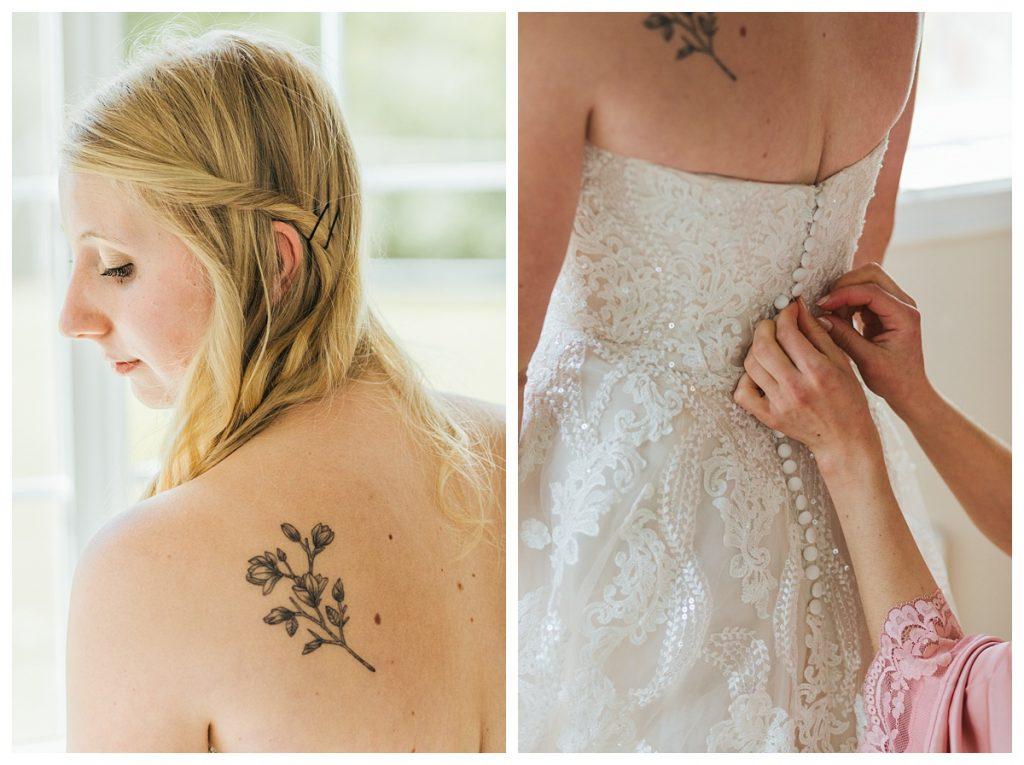 Bostic Lake Ranch Wedding bride getting dress on