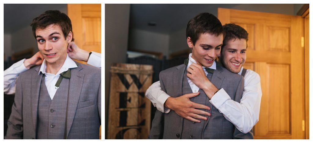 Bostic Lake Ranch Wedding groom getting ready