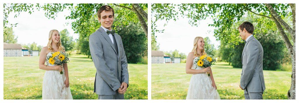 Bostic Lake Ranch Wedding first look between bride and groom