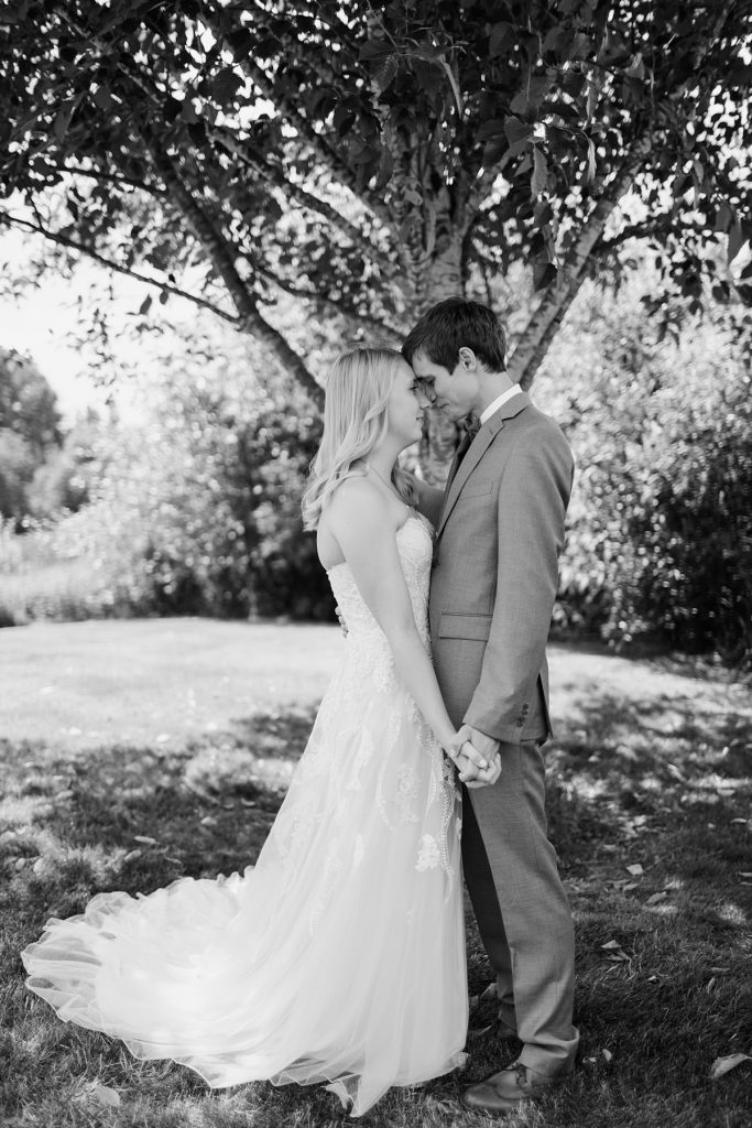 Bostic Lake Ranch Wedding bride and groom portrait in black and white
