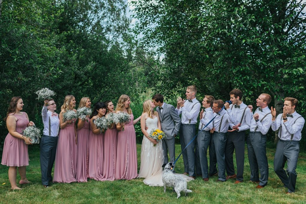 Bostic Lake Ranch Wedding bride and groom with bridal partyu