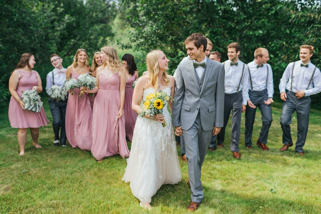 Bostic Lake Ranch Wedding bride and groom with bridal party