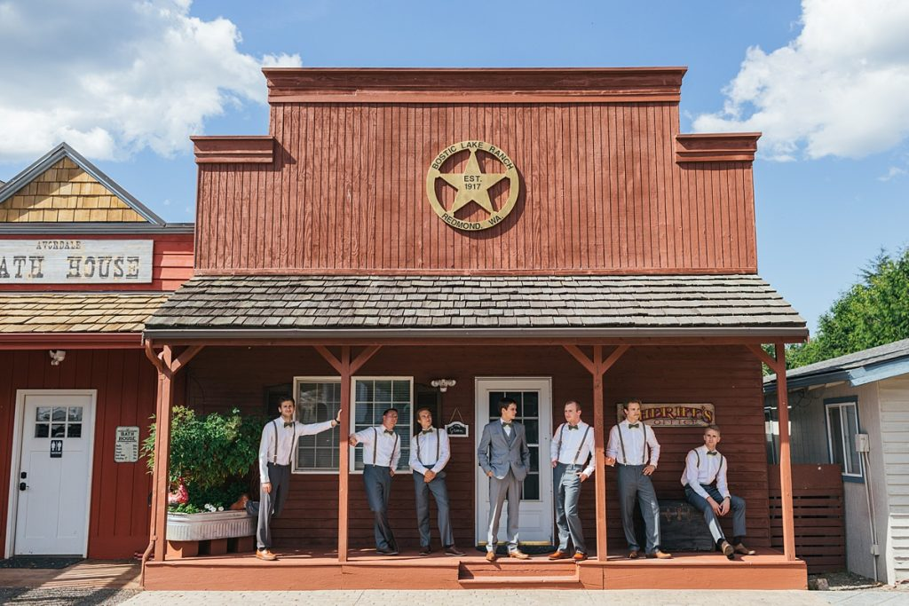 Bostic Lake Ranch Wedding groom with groomsmen infront of ranch