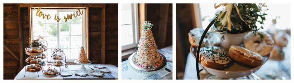 Bostic Lake Ranch Wedding swedish wedding cake and donuts
