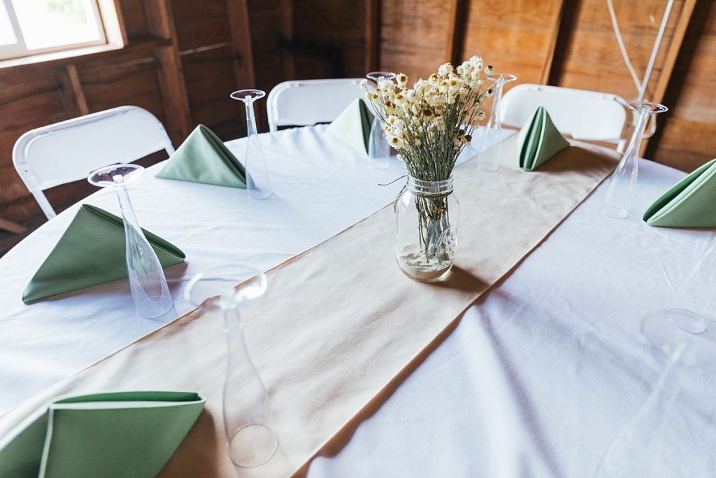 Bostic Lake Ranch Wedding dining area decor