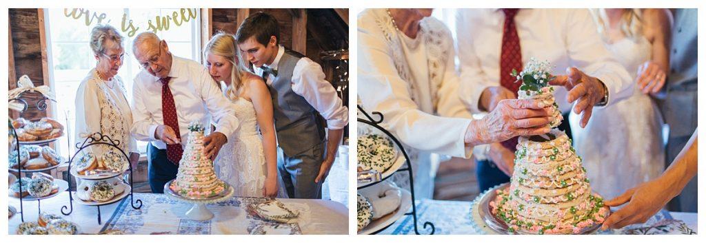 Bostic Lake Ranch Wedding cutting of swedish wedding cake