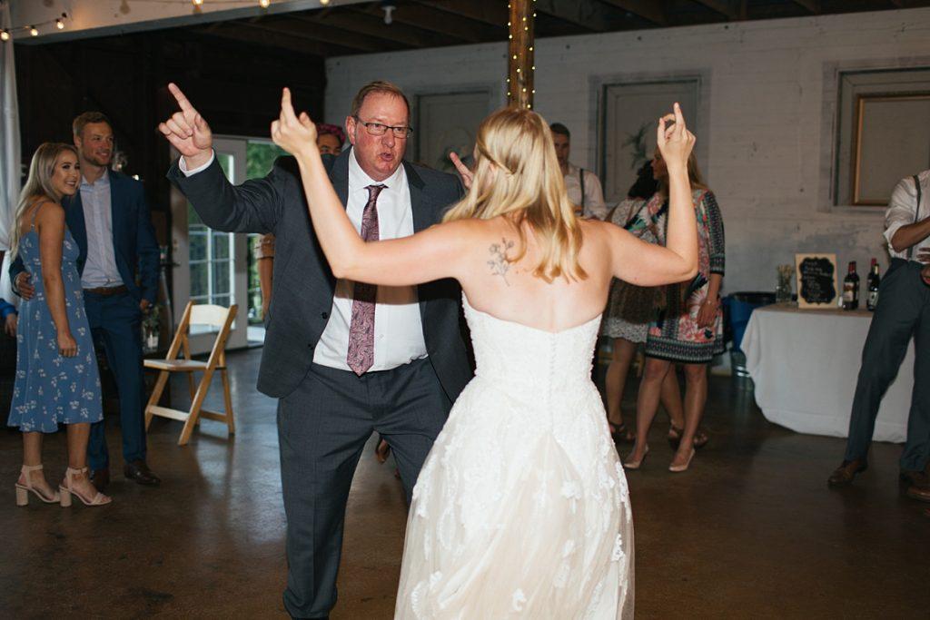 Bostic Lake Ranch Wedding dancing at reception