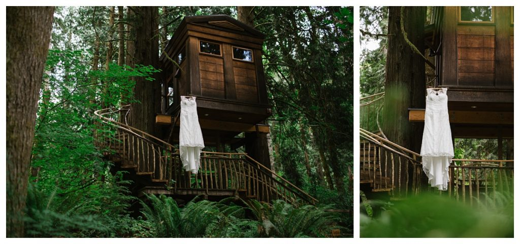 TreeHouse Point Wedding details of dress hanging on tree house