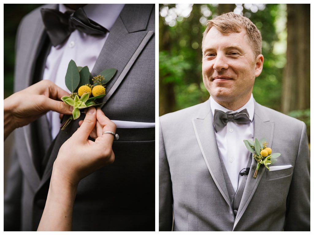 TreeHouse Point Wedding groom getting ready close up of boutonnière