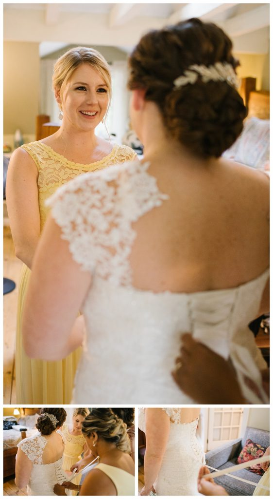 TreeHouse Point Wedding bride getting ready with bridesmaids