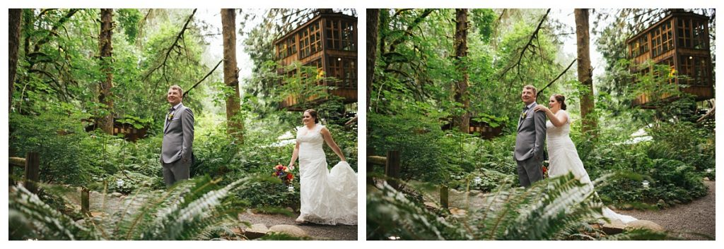 TreeHouse Point Wedding bride and groom first look next to tree houses