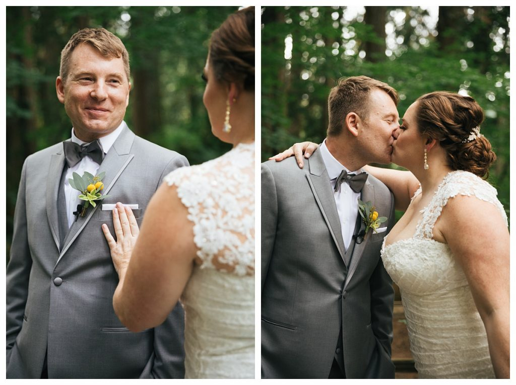 TreeHouse Point Wedding bride and groom first look