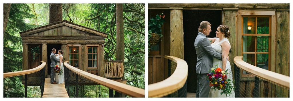 TreeHouse Point Wedding bride and groom portraits with treehouse in back