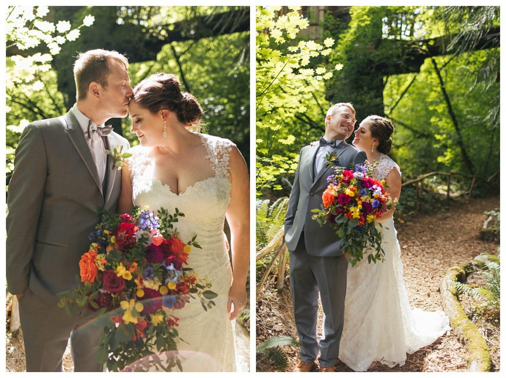 TreeHouse Point Wedding bride and groom portrait