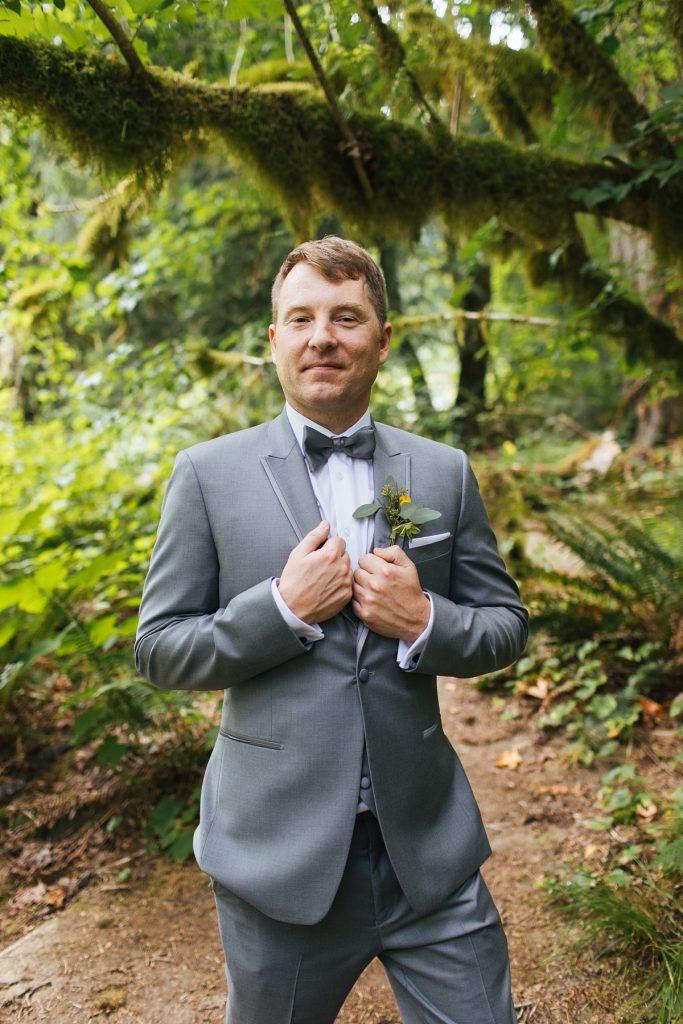 TreeHouse Point Wedding portrait of groom