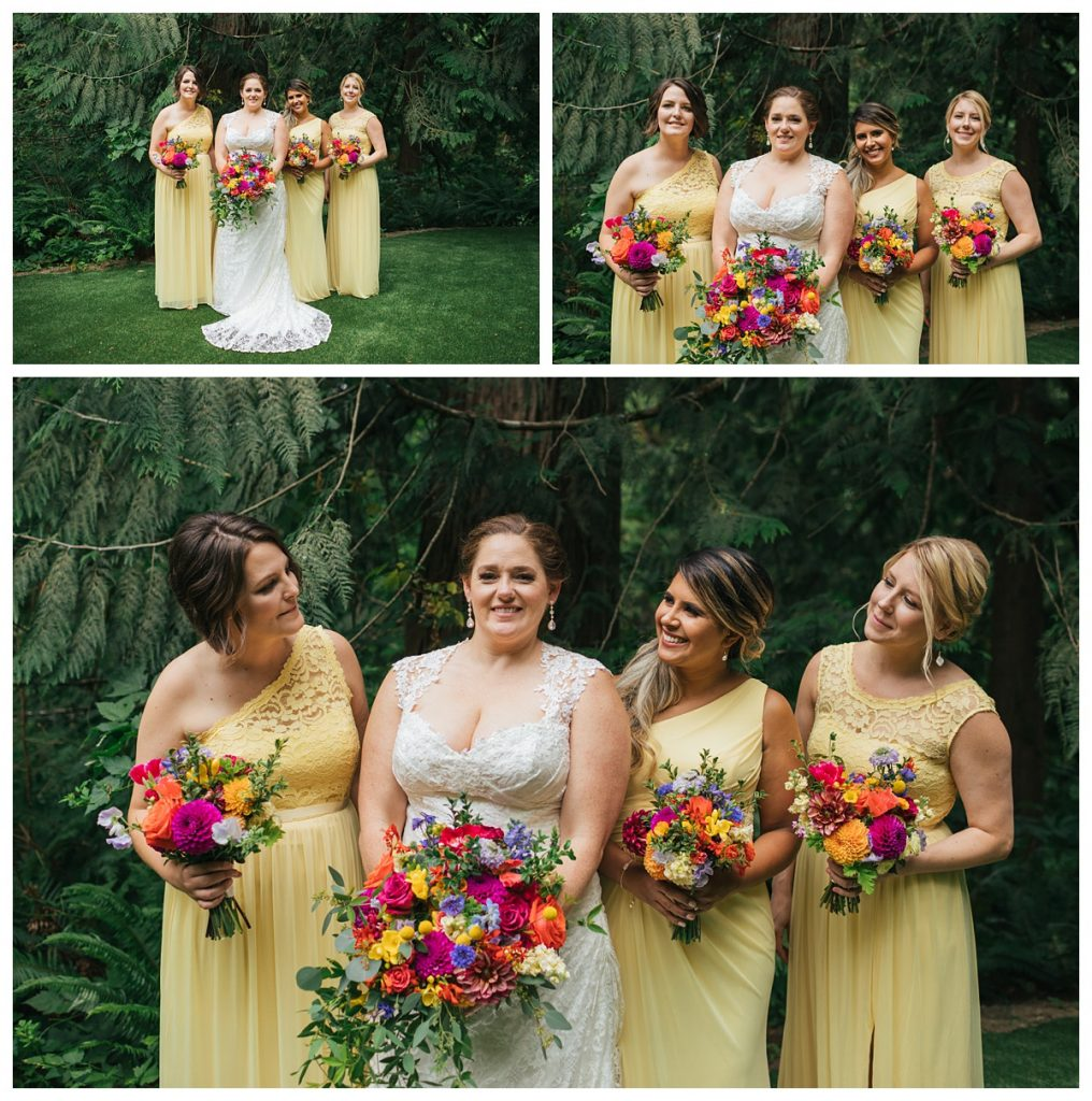 TreeHouse Point Wedding bride with bridesmaids