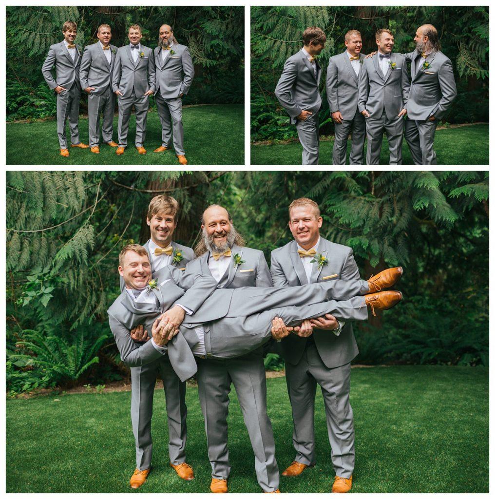 TreeHouse Point Wedding groom with groomsmen