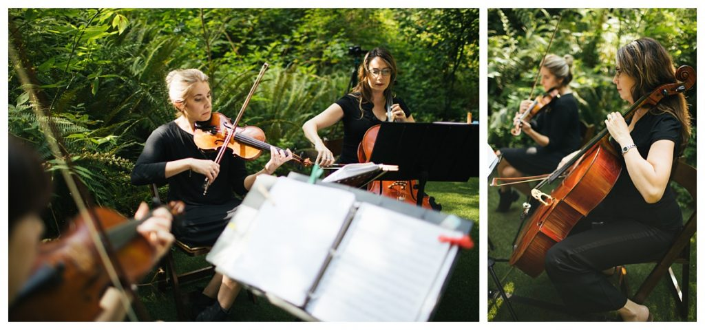 TreeHouse Point Wedding acrobaleno strings playing before ceremony