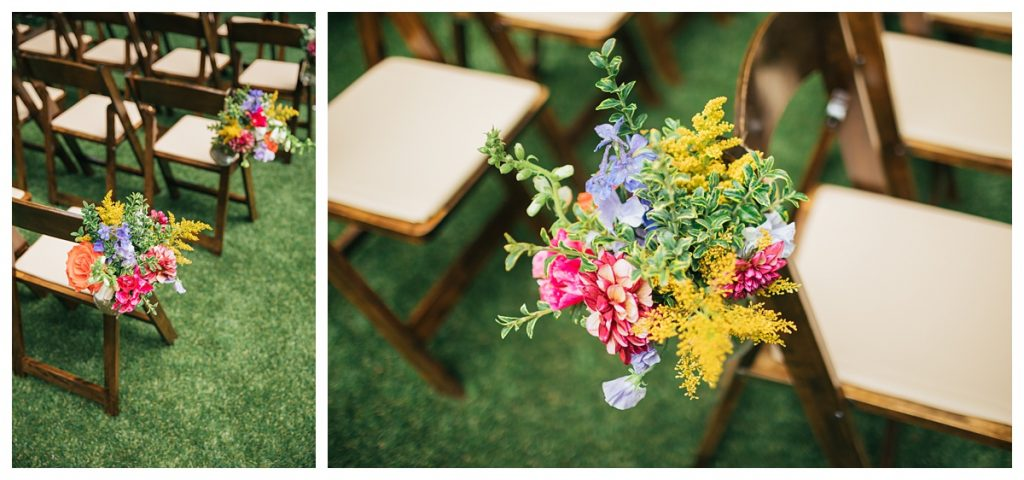 TreeHouse Point Wedding ceremony site flower details on chairs