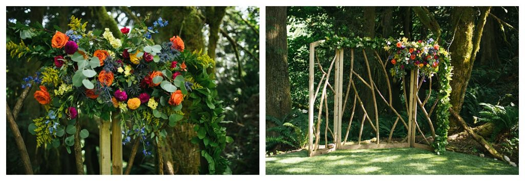 TreeHouse Point Wedding ceremony site details with flower details by floratherapie