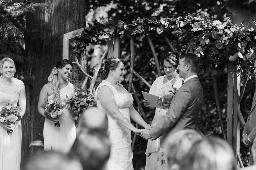 TreeHouse Point Wedding ceremony in black and white