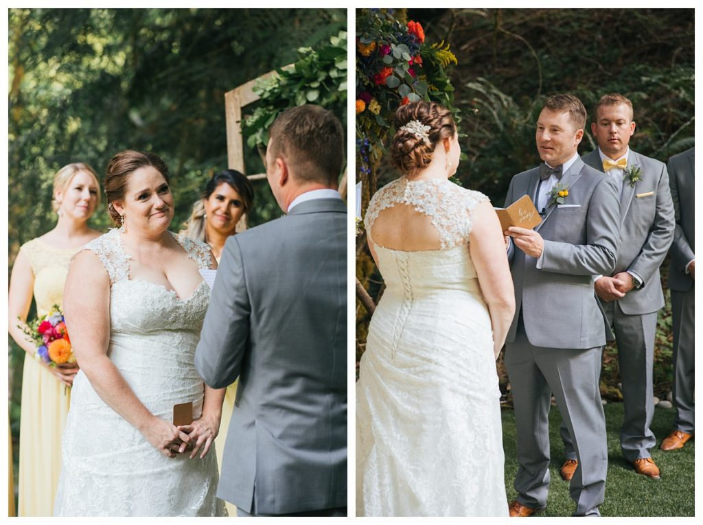 TreeHouse Point Wedding groom reading vows to bride during ceremony